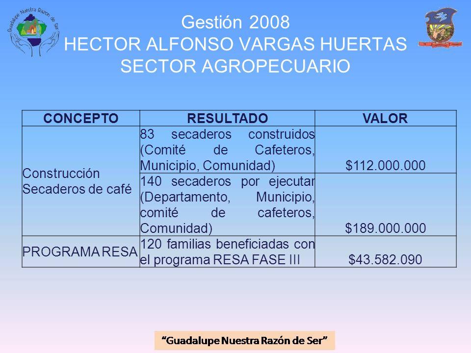 Gestión 2008 HECTOR ALFONSO VARGAS HUERTAS SECTOR AGROPECUARIO CONCEPTORESULTADOVALOR Construcción Secaderos de café 83 secaderos construidos (Comité