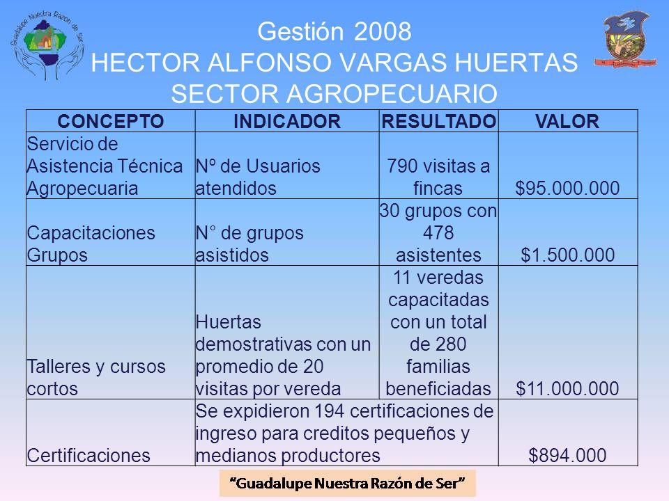 Gestión 2008 HECTOR ALFONSO VARGAS HUERTAS SECTOR AGROPECUARIO CONCEPTOINDICADORRESULTADOVALOR Servicio de Asistencia Técnica Agropecuaria Nº de Usuar