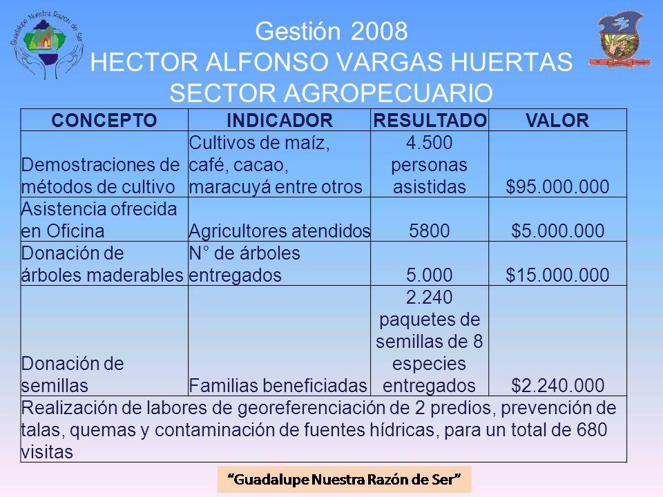 Gestión 2008 HECTOR ALFONSO VARGAS HUERTAS SECTOR AGROPECUARIO CONCEPTOINDICADORRESULTADOVALOR Demostraciones de métodos de cultivo Cultivos de maíz,