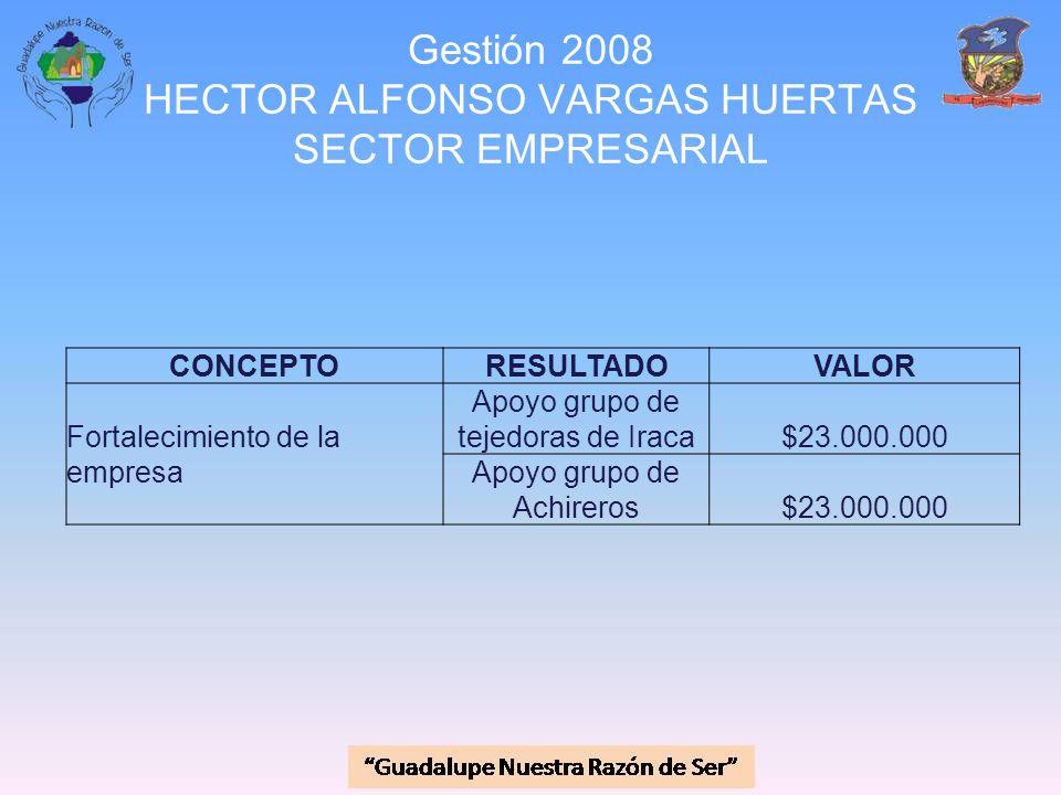 Gestión 2008 HECTOR ALFONSO VARGAS HUERTAS SECTOR EMPRESARIAL CONCEPTORESULTADOVALOR Fortalecimiento de la empresa Apoyo grupo de tejedoras de Iraca$2