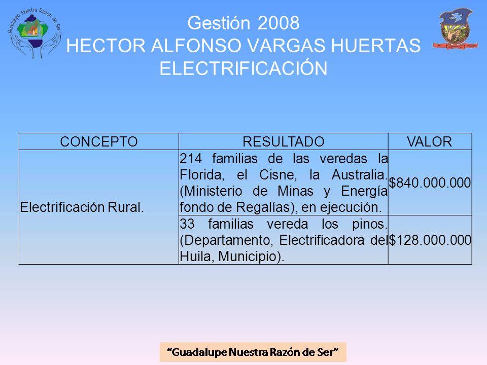 Gestión 2008 HECTOR ALFONSO VARGAS HUERTAS ELECTRIFICACIÓN CONCEPTORESULTADOVALOR Electrificación Rural. 214 familias de las veredas la Florida, el Ci