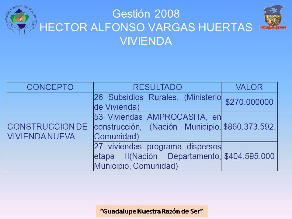 Gestión 2008 HECTOR ALFONSO VARGAS HUERTAS VIVIENDA CONCEPTORESULTADOVALOR CONSTRUCCION DE VIVIENDA NUEVA 26 Subsidios Rurales. (Ministerio de Viviend