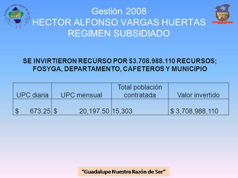 Gestión 2008 HECTOR ALFONSO VARGAS HUERTAS REGIMEN SUBSIDIADO SE INVIRTIERON RECURSO POR $3.708.988.110 RECURSOS; FOSYGA, DEPARTAMENTO, CAFETEROS Y MU