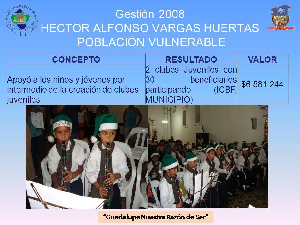 Gestión 2008 HECTOR ALFONSO VARGAS HUERTAS POBLACIÓN VULNERABLE CONCEPTORESULTADOVALOR Apoyó a los niños y jóvenes por intermedio de la creación de cl