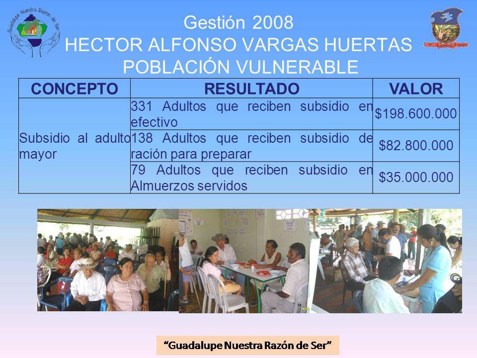 Gestión 2008 HECTOR ALFONSO VARGAS HUERTAS POBLACIÓN VULNERABLE CONCEPTORESULTADOVALOR Subsidio al adulto mayor 331 Adultos que reciben subsidio en ef