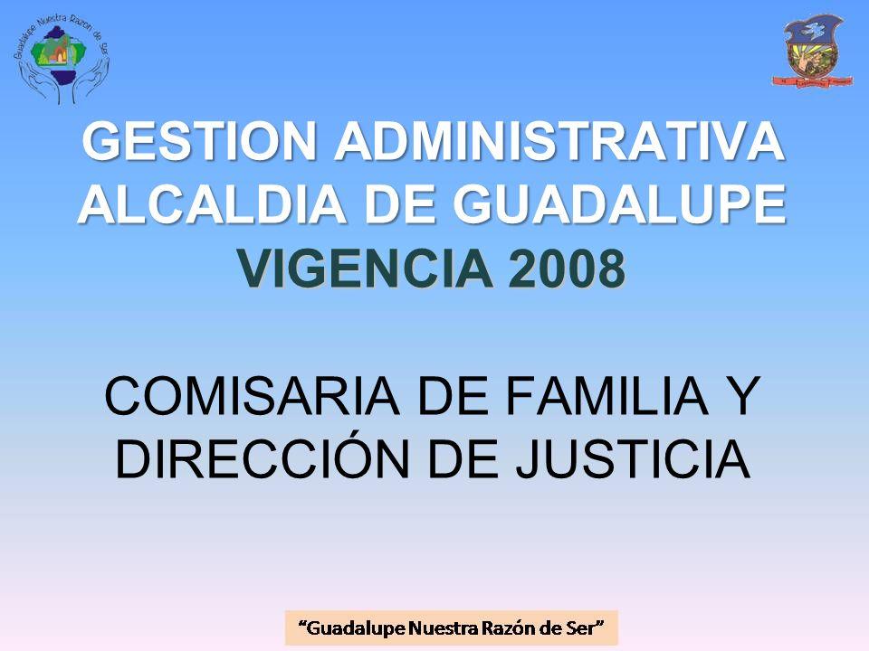 GESTION ADMINISTRATIVA ALCALDIA DE GUADALUPE VIGENCIA 2008 GESTION ADMINISTRATIVA ALCALDIA DE GUADALUPE VIGENCIA 2008 COMISARIA DE FAMILIA Y DIRECCIÓN