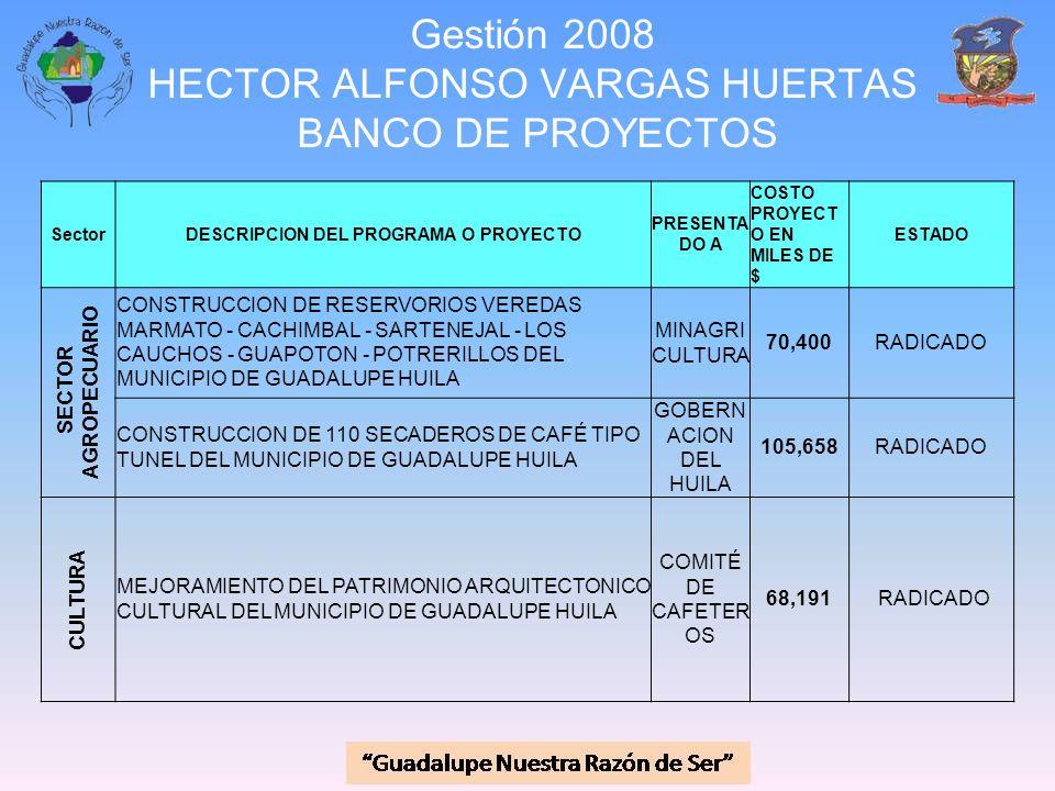 Gestión 2008 HECTOR ALFONSO VARGAS HUERTAS BANCO DE PROYECTOS SectorDESCRIPCION DEL PROGRAMA O PROYECTO PRESENTA DO A COSTO PROYECT O EN MILES DE $ ES