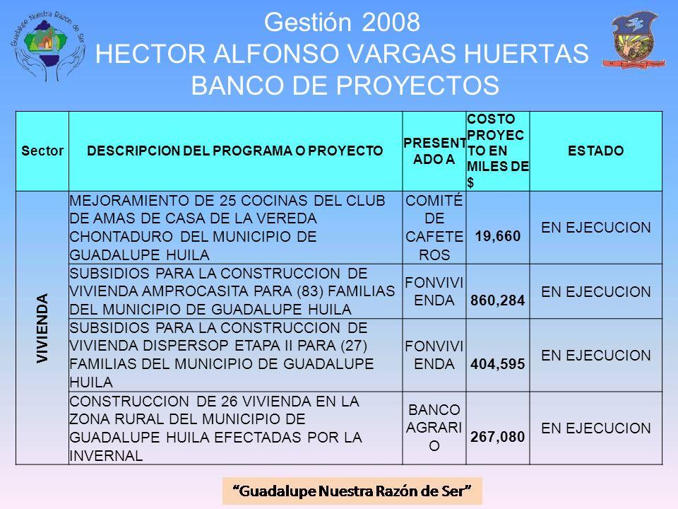 Gestión 2008 HECTOR ALFONSO VARGAS HUERTAS BANCO DE PROYECTOS SectorDESCRIPCION DEL PROGRAMA O PROYECTO PRESENT ADO A COSTO PROYEC TO EN MILES DE $ ES