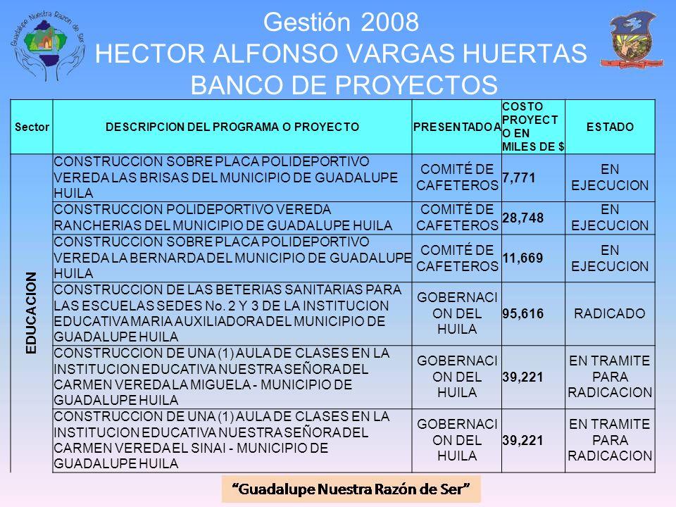 Gestión 2008 HECTOR ALFONSO VARGAS HUERTAS BANCO DE PROYECTOS SectorDESCRIPCION DEL PROGRAMA O PROYECTOPRESENTADO A COSTO PROYECT O EN MILES DE $ ESTA