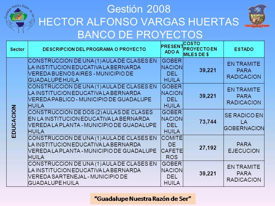 Gestión 2008 HECTOR ALFONSO VARGAS HUERTAS BANCO DE PROYECTOS SectorDESCRIPCION DEL PROGRAMA O PROYECTO PRESENT ADO A COSTO PROYECTO EN MILES DE $ EST
