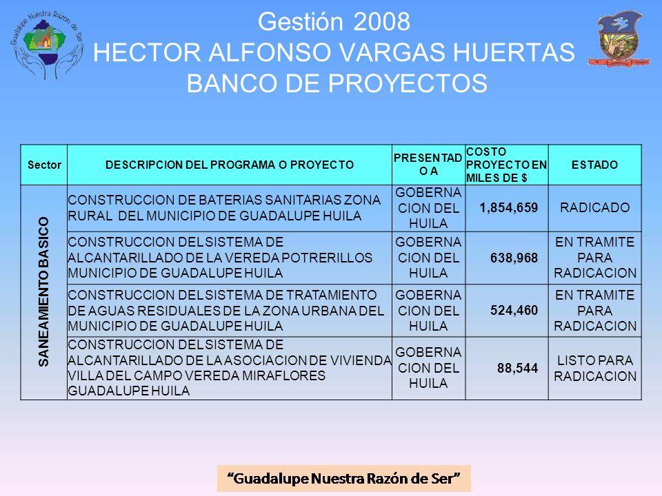 Gestión 2008 HECTOR ALFONSO VARGAS HUERTAS BANCO DE PROYECTOS SectorDESCRIPCION DEL PROGRAMA O PROYECTO PRESENTAD O A COSTO PROYECTO EN MILES DE $ EST