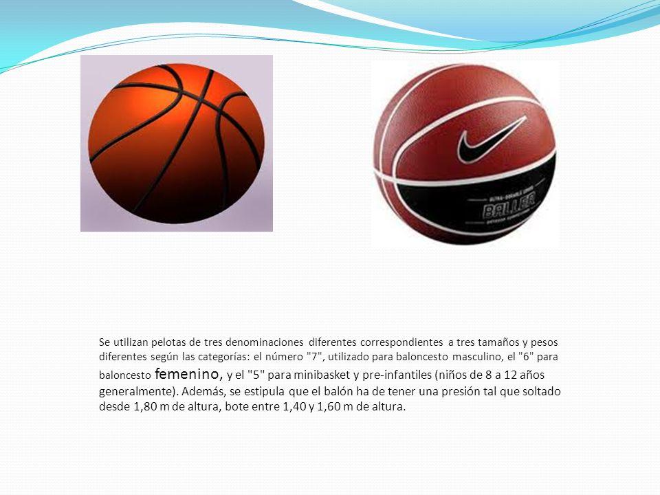 Se utilizan pelotas de tres denominaciones diferentes correspondientes a tres tamaños y pesos diferentes según las categorías: el número 7 , utilizado para baloncesto masculino, el 6 para baloncesto femenino, y el 5 para minibasket y pre-infantiles (niños de 8 a 12 años generalmente).
