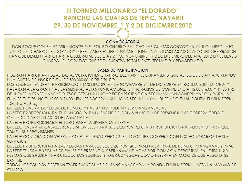 III TORNEO MILLONARIO EL DORADO RANCHO LAS CUATAS DE TEPIC, NAYARIT 29, 30 DE NOVIEMBRE, 1 Y 2 DE DICIEMBRE 2012 CONVOCATORIA DON ROQUE GONZALEZ MIRAMONTES Y EL EQUIPO CHARRO RANCHO LAS CUATAS CONVOCAN AL III CAMPEONATO NACIONAL CHARRO EL DORADO A REALIZARSE EN TEPIC NAYARIT E INVITA A TODAS LAS ASOCIACIONES CHARRAS DEL PAIS QUE DESEEN PARTICIPAR, A CELEBRARSE LOS DIAS 29, 30, NOVIEMBRE 1Y 2 DE DICIEMBRE DEL AÑO 2012 EN EL LIENZO CHARRO EL DORADO QUE SE ENCUENTRA TOTALMENTE TECHADO Y REMODELADO BASES DE PARTICIPACIÓN PODRAN PARTICIPAR TODAS LAS ASOCIACIONES CHARRAS DEL PAIS Y EL EXTRANJERO QUE ASI LO DECIDAN APORTANDO UNA CUOTA DE INSCRIPCION DE $30,000.00 POR EQUIPO LOS EQUIPOS TENDRAN PARTICIPACION LOS DIAS 29, 30 DE NOVIEMBRE Y 1 DE DICIEMBRE EN RONDA ELIMINATORIA Y PASARAN A LA GRAN FINAL LAS SEIS MAS ALTAS PUNTUACIONES EN HORARIOS DE COMPETENCIA 12:00,16:00 Y 19:30 HRS DE JUEVES, VIERNES Y SABADO.