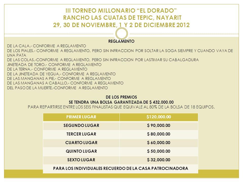 III TORNEO MILLONARIO EL DORADO RANCHO LAS CUATAS DE TEPIC, NAYARIT 29, 30 DE NOVIEMBRE, 1 Y 2 DE DICIEMBRE 2012 REGLAMENTO DE LA CALA.- CONFORME A RE