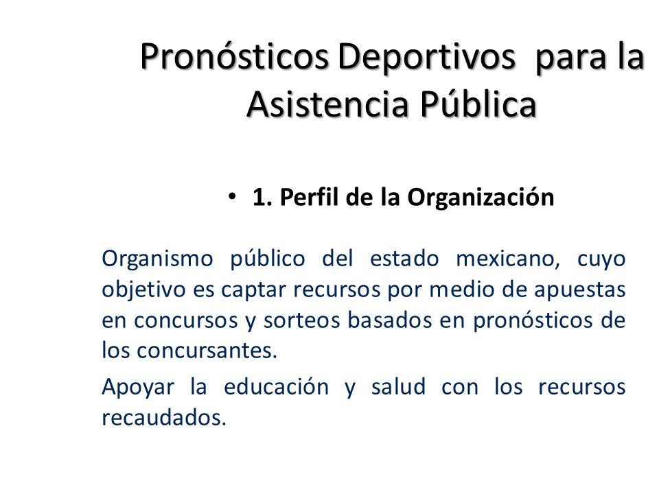 PronósticosDeportivospara la Asistencia Pública 1. Perfil de la Organización Organismo público del estado mexicano, cuyo objetivo es captar recursos p
