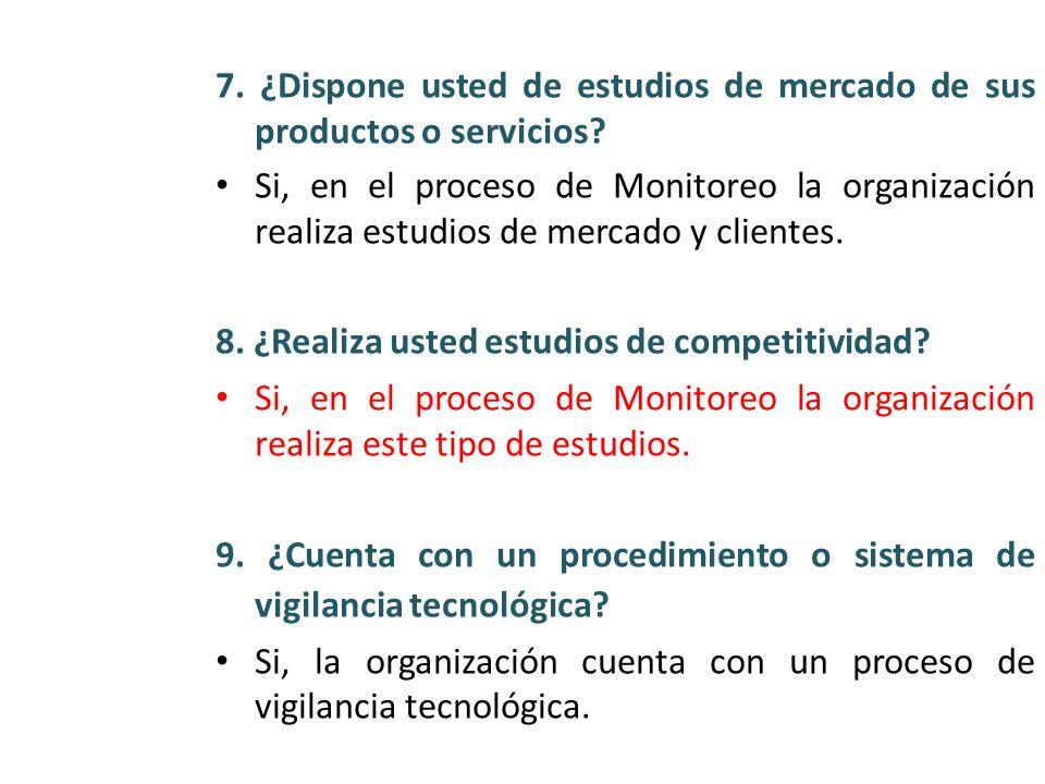 7. ¿Dispone usted de estudios de mercado de sus productos o servicios? Si, en el proceso de Monitoreo la organización realiza estudios de mercado y cl