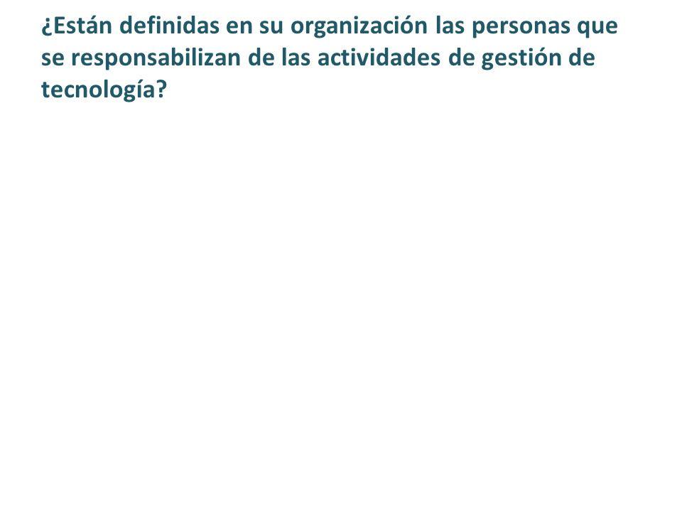 ¿Están definidas en su organización las personas que se responsabilizan de las actividades de gestión de tecnología?