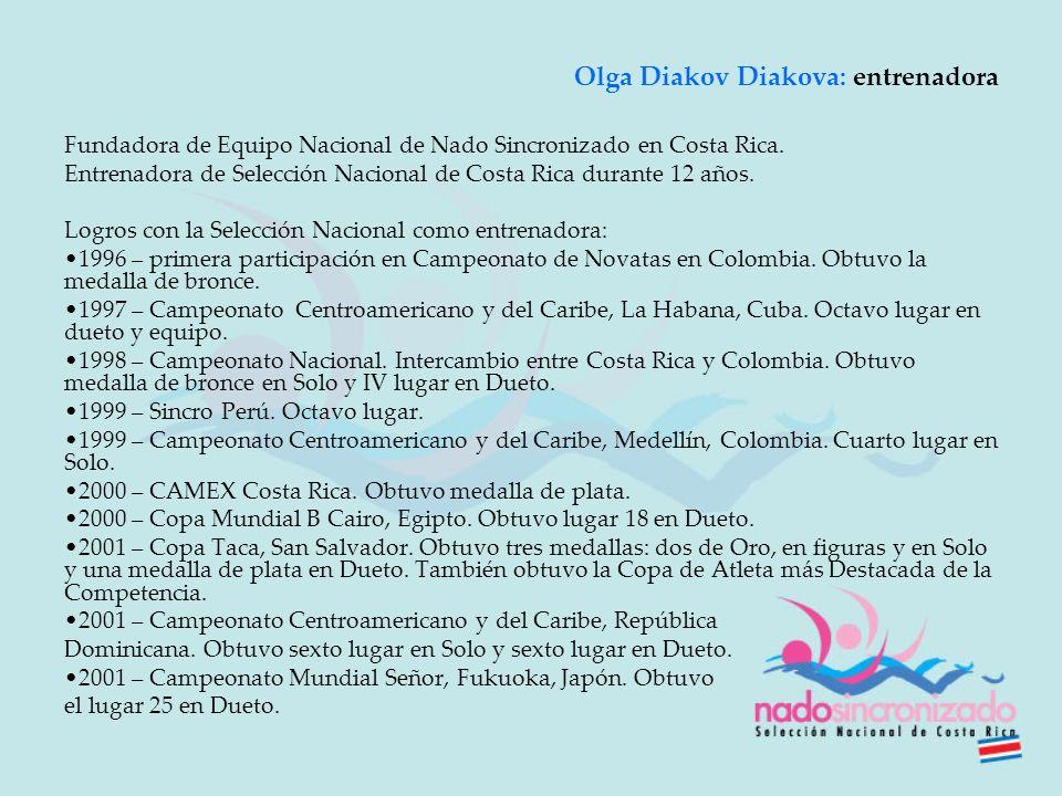 Fundadora de Equipo Nacional de Nado Sincronizado en Costa Rica. Entrenadora de Selección Nacional de Costa Rica durante 12 años. Logros con la Selecc