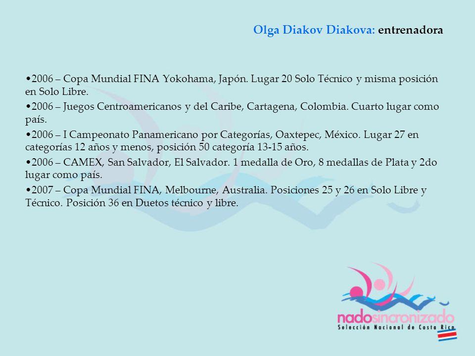 2006 – Copa Mundial FINA Yokohama, Japón. Lugar 20 Solo Técnico y misma posición en Solo Libre. 2006 – Juegos Centroamericanos y del Caribe, Cartagena