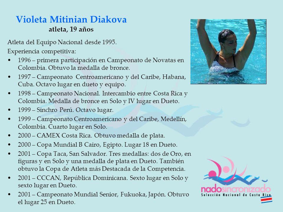 Violeta Mitinian Diakova atleta, 19 años Atleta del Equipo Nacional desde 1995. Experiencia competitiva: 1996 – primera participación en Campeonato de