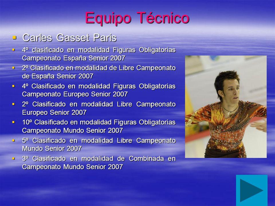 Equipo Técnico Carles Gasset Paris Carles Gasset Paris 4º clasificado en modalidad Figuras Obligatorias Campeonato España Senior 2007 4º clasificado e