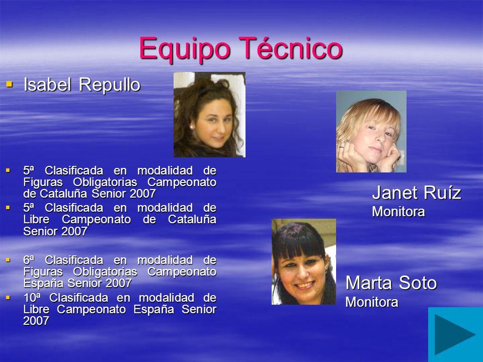 Equipo Técnico Isabel Repullo Isabel Repullo 5ª Clasificada en modalidad de Figuras Obligatorias Campeonato de Cataluña Senior 2007 5ª Clasificada en