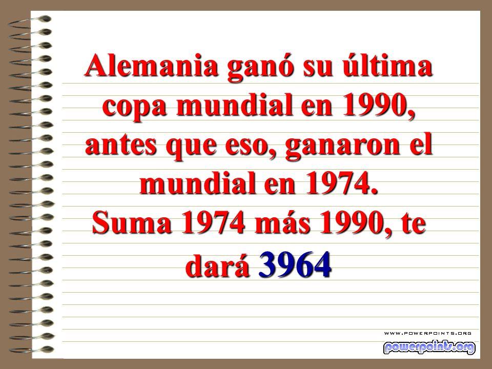 Argentina ganó su última copa mundial en 1986, antes que eso, ganaron el mundial en 1978. Suma 1978 más 1986, te dará 3964