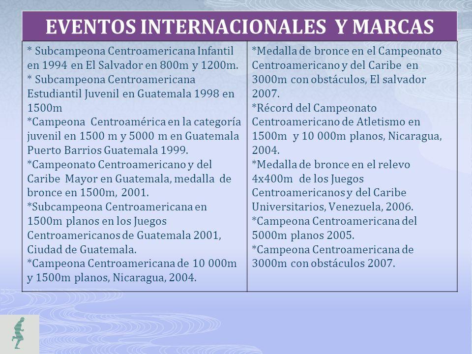 EVENTOS INTERNACIONALES Y MARCAS * Subcampeona Centroamericana Infantil en 1994 en El Salvador en 800m y 1200m. * Subcampeona Centroamericana Estudian