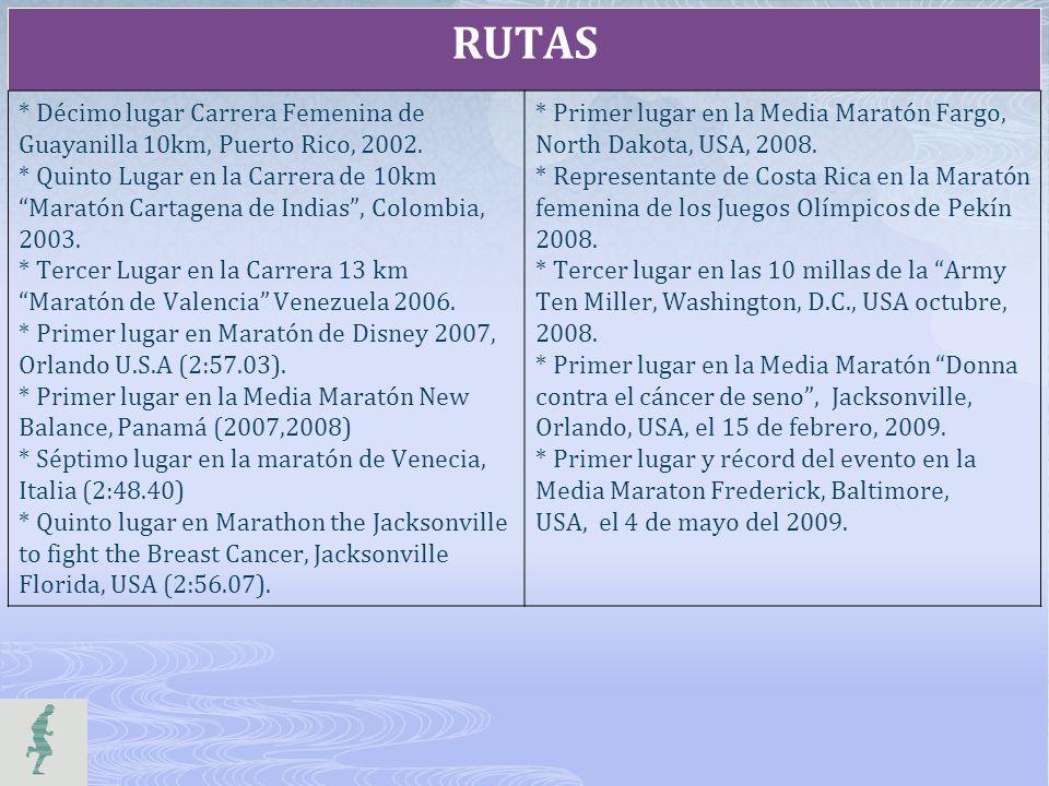 RUTAS * Décimo lugar Carrera Femenina de Guayanilla 10km, Puerto Rico, 2002. * Quinto Lugar en la Carrera de 10km Maratón Cartagena de Indias, Colombi