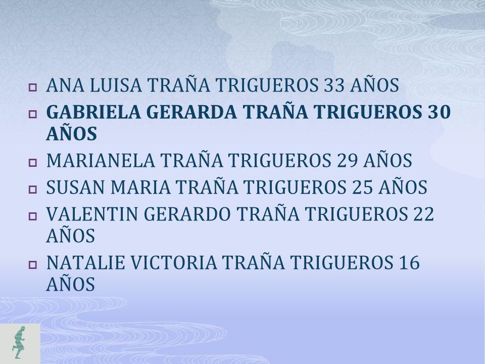 ANA LUISA TRAÑA TRIGUEROS 33 AÑOS GABRIELA GERARDA TRAÑA TRIGUEROS 30 AÑOS MARIANELA TRAÑA TRIGUEROS 29 AÑOS SUSAN MARIA TRAÑA TRIGUEROS 25 AÑOS VALEN