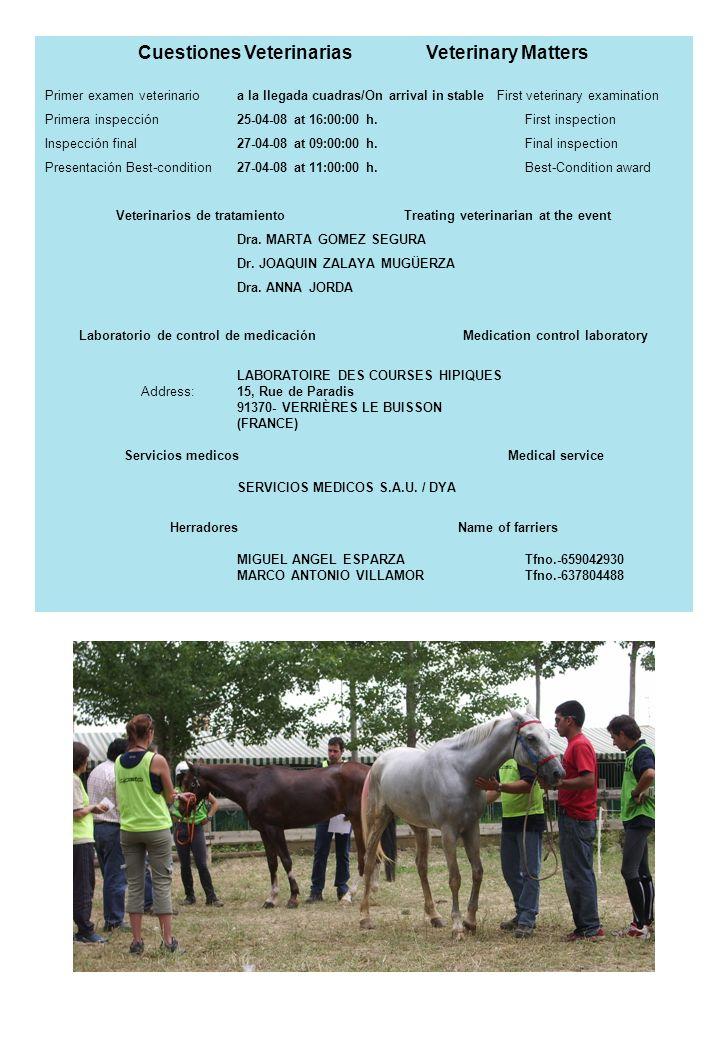 Cuestiones VeterinariasVeterinary Matters Primer examen veterinarioa la llegada cuadras/On arrival in stable First veterinary examination Primera insp