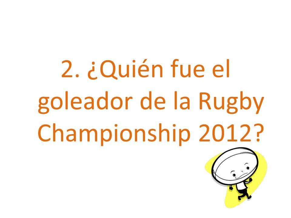 2. ¿Quién fue el goleador de la Rugby Championship 2012?