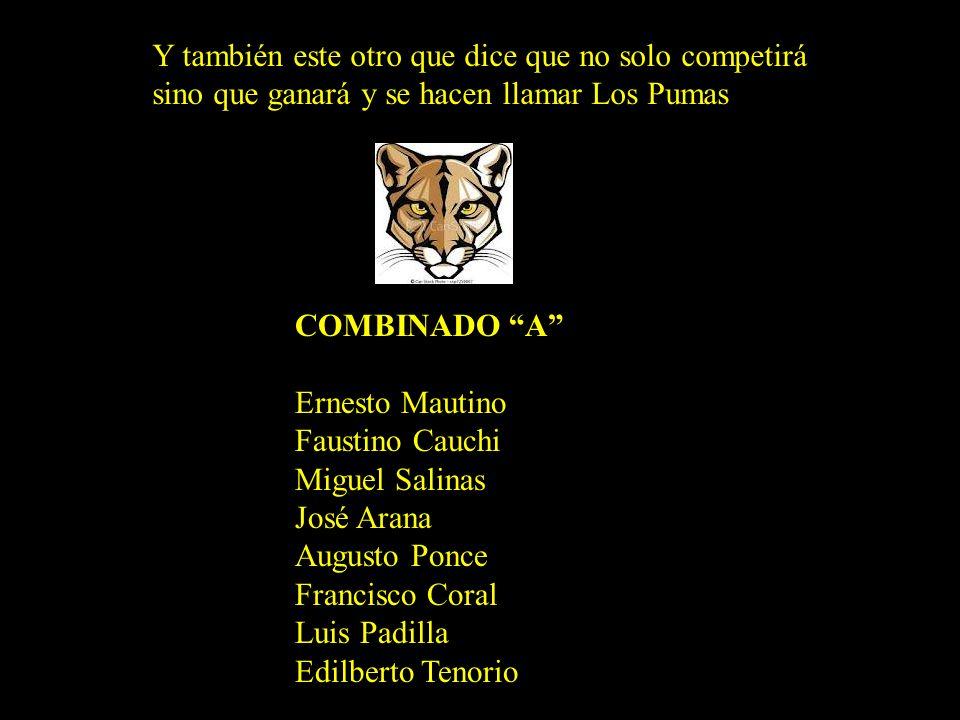 Y este otro que dicen son Las Panteras, que arrasaran a sus rivales EQUIPO RAD Ernesto Trujillo Fernando Legua Genaro Béjar Mario Santos Heriberto Pra