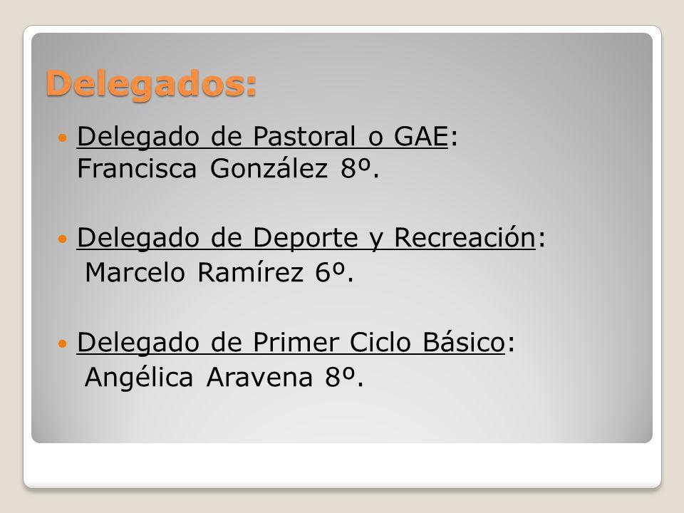 Delegados: Delegado de Pastoral o GAE: Francisca González 8º. Delegado de Deporte y Recreación: Marcelo Ramírez 6º. Delegado de Primer Ciclo Básico: A