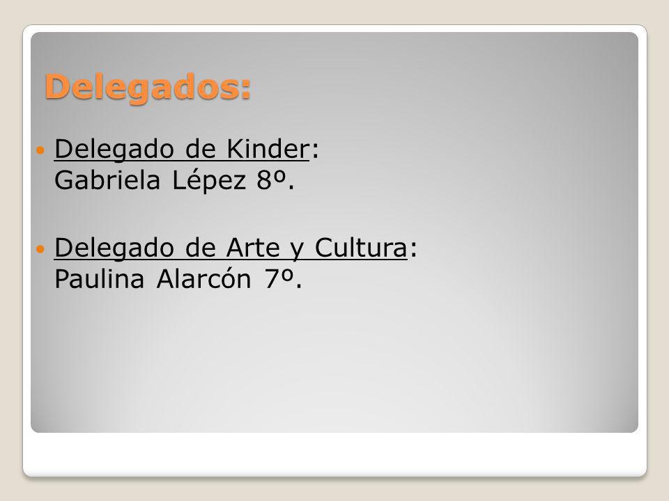 Delegados: Delegado de Kinder: Gabriela Lépez 8º. Delegado de Arte y Cultura: Paulina Alarcón 7º.