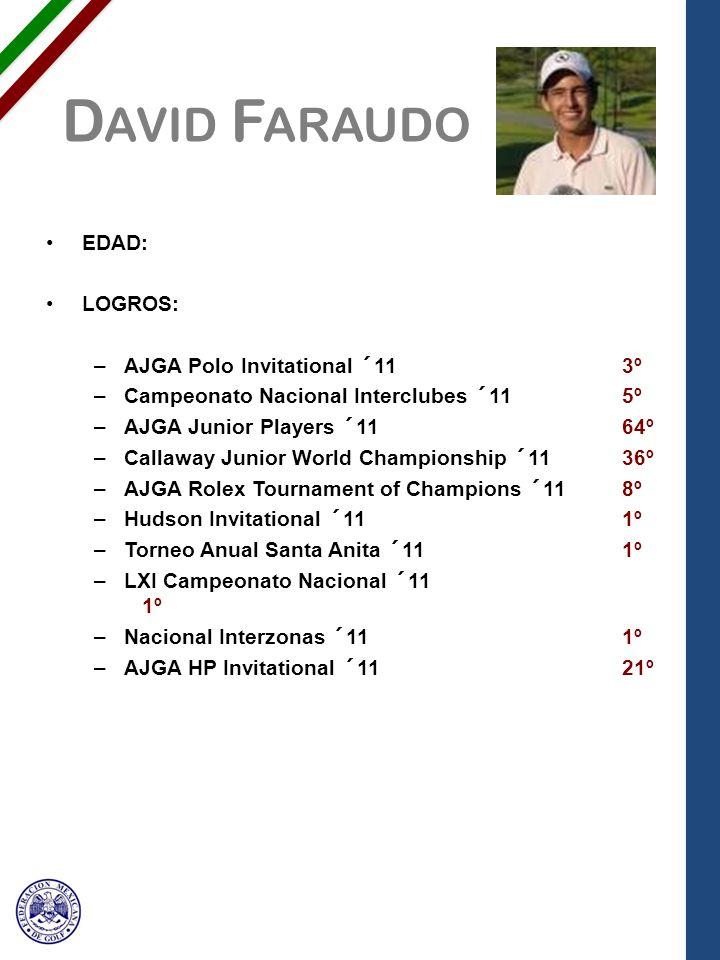 D AVID F ARAUDO EDAD: LOGROS: –AJGA Polo Invitational ´113º –Campeonato Nacional Interclubes ´115º –AJGA Junior Players ´1164º –Callaway Junior World