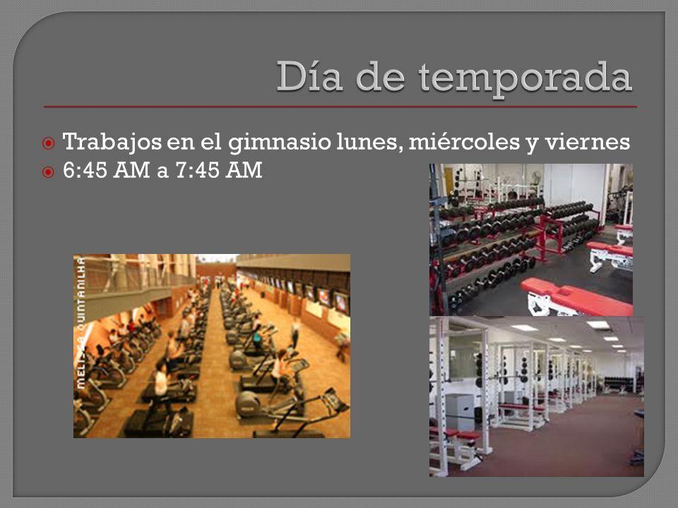 Trabajos en el gimnasio lunes, miércoles y viernes 6:45 AM a 7:45 AM