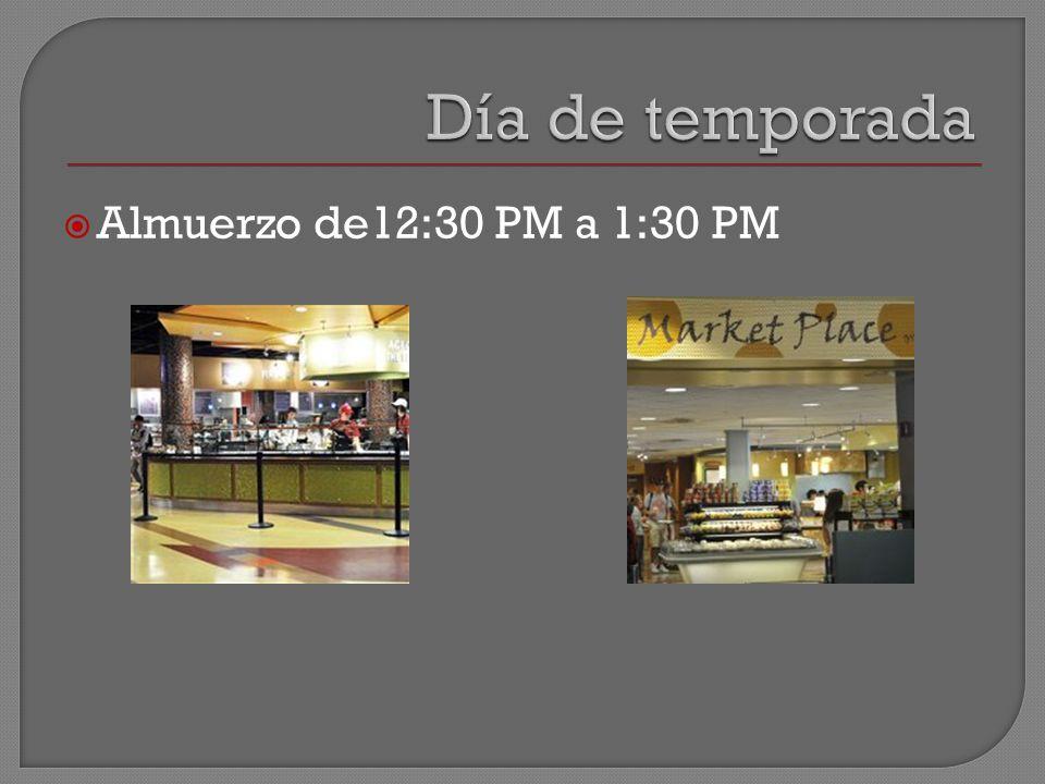 Almuerzo de12:30 PM a 1:30 PM