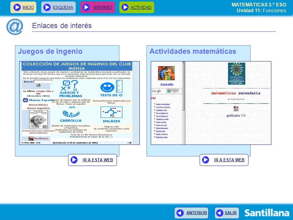 MATEMÁTICAS 3.º ESO Unidad 11: Funciones INICIOESQUEMA INTERNETACTIVIDAD ANTERIOR SALIR Actividades matemáticas IR A ESTA WEB Juegos de ingenio IR A E