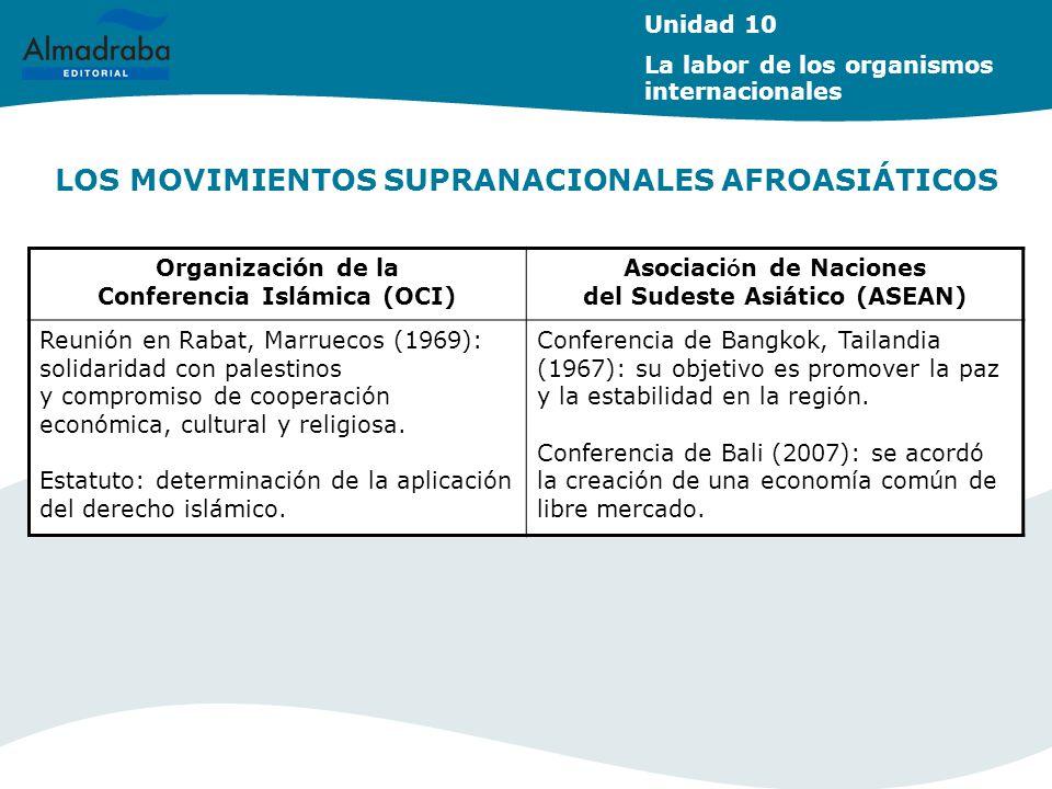 LOS MOVIMIENTOS SUPRANACIONALES AFROASIÁTICOS Unidad 10 La labor de los organismos internacionales Organización de la Conferencia Islámica (OCI) Asoci