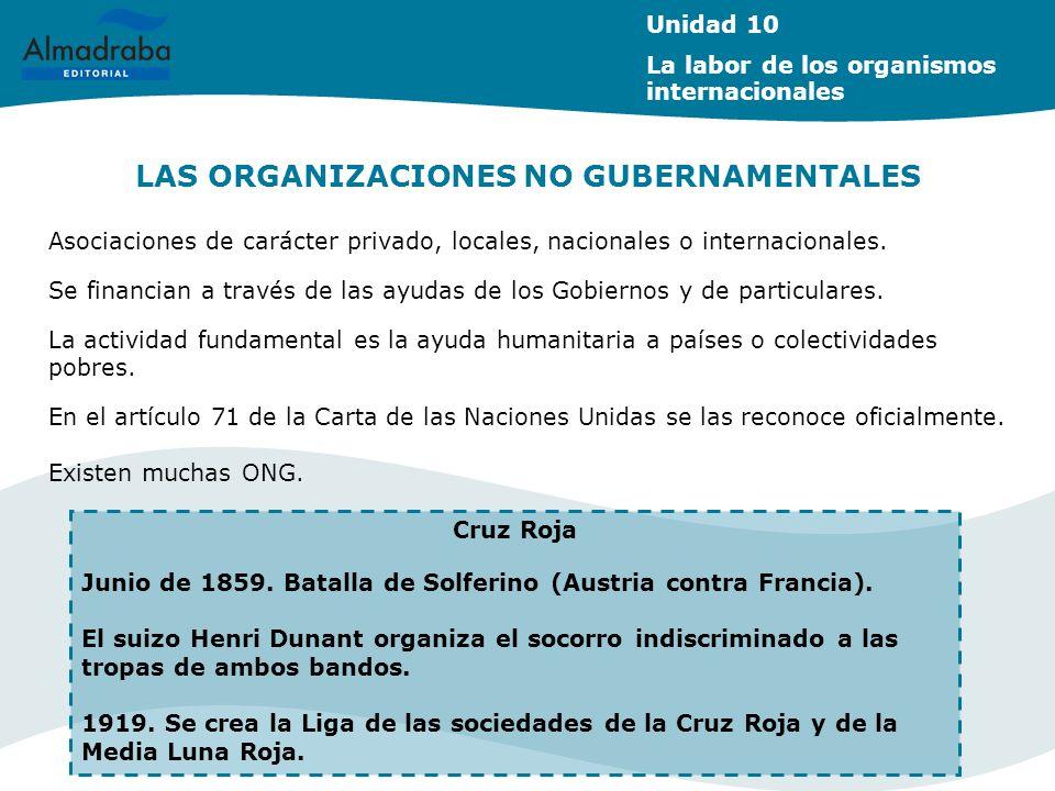 LAS ORGANIZACIONES NO GUBERNAMENTALES Unidad 10 La labor de los organismos internacionales Asociaciones de carácter privado, locales, nacionales o int