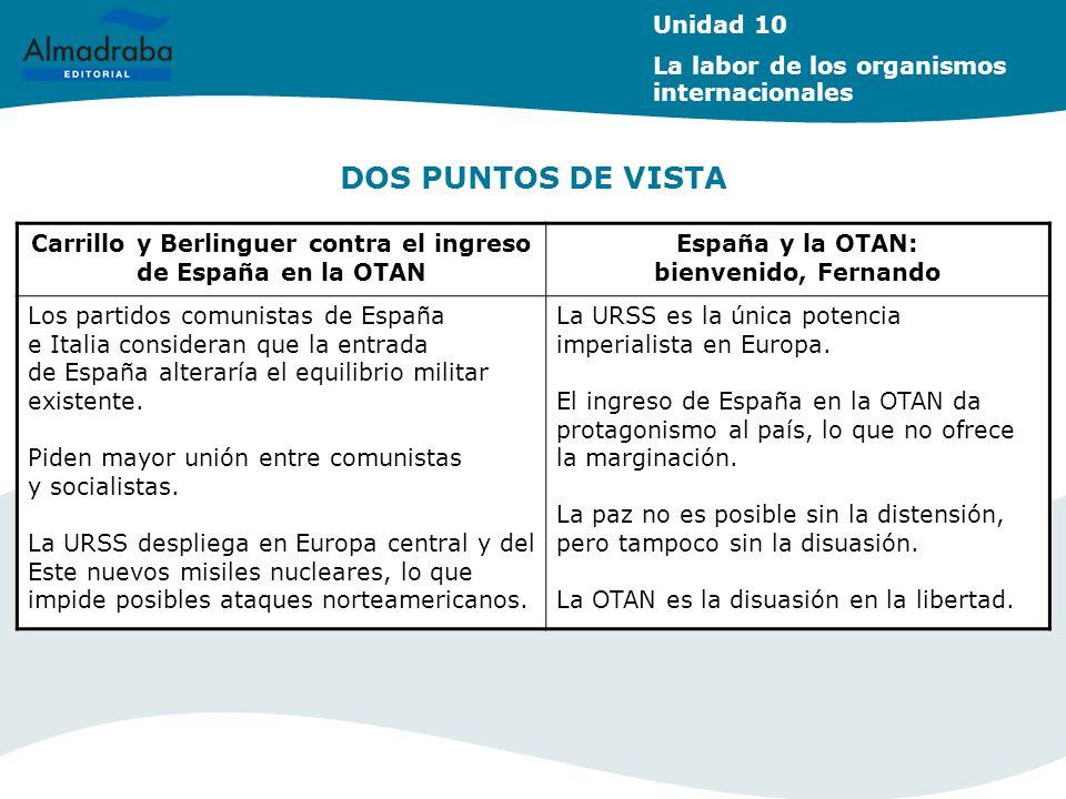 DOS PUNTOS DE VISTA Unidad 10 La labor de los organismos internacionales Carrillo y Berlinguer contra el ingreso de España en la OTAN España y la OTAN