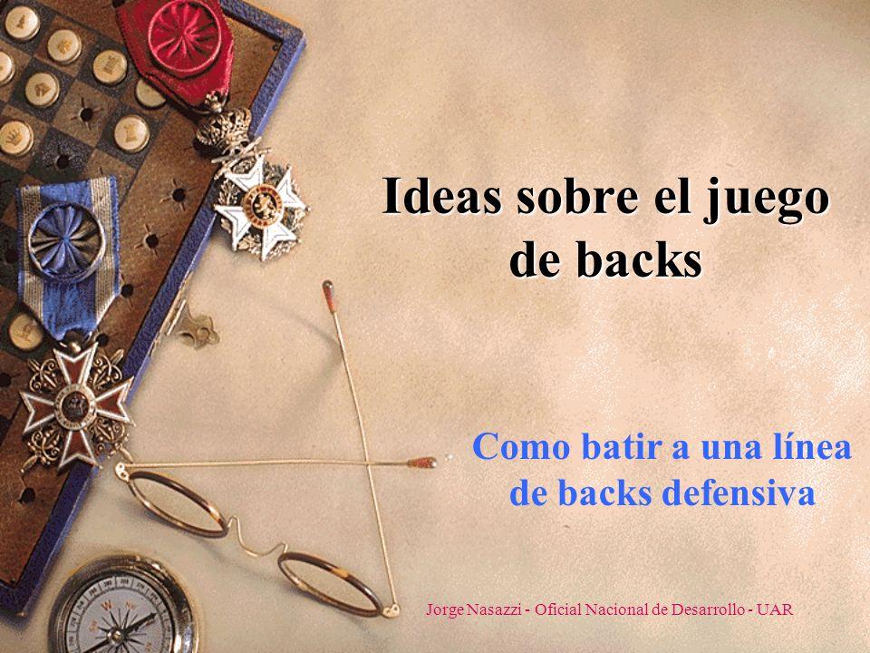 Jorge Nasazzi - Oficial Nacional de Desarrollo - UAR Ideas sobre el juego de backs Como batir a una línea de backs defensiva