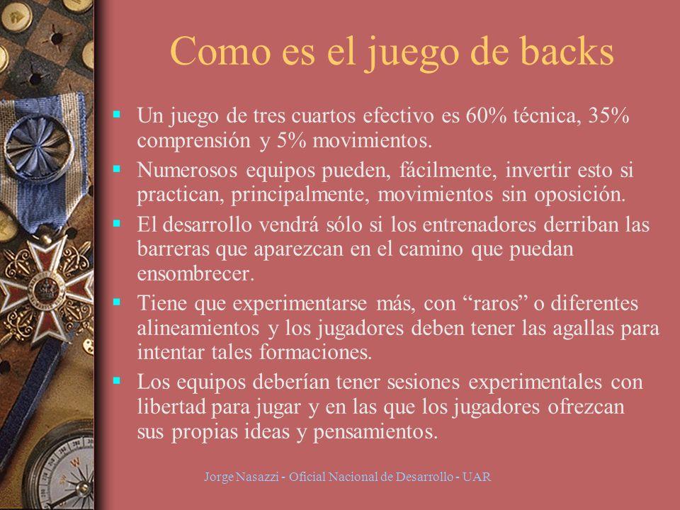 Jorge Nasazzi - Oficial Nacional de Desarrollo - UAR Como es el juego de backs Un juego de tres cuartos efectivo es 60% técnica, 35% comprensión y 5% movimientos.