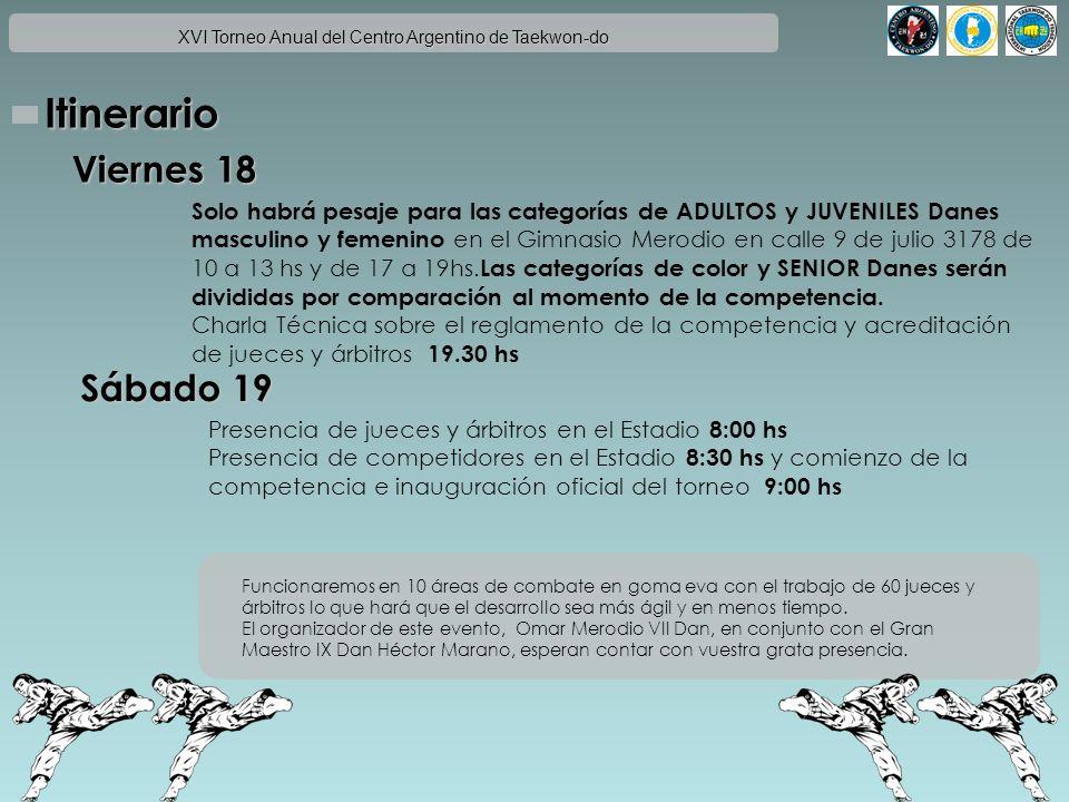 XVI Torneo Anual del Centro Argentino de Taekwon-do Reglamento Los pesos de Infantiles Juveniles y Adultos tanto Masculino como Femenino de las categorias de color serán divididos en 1, 2 ó 3 grupos de acuerdo a la cantidad de participantes y diferencia de tamaño entre los competidores.