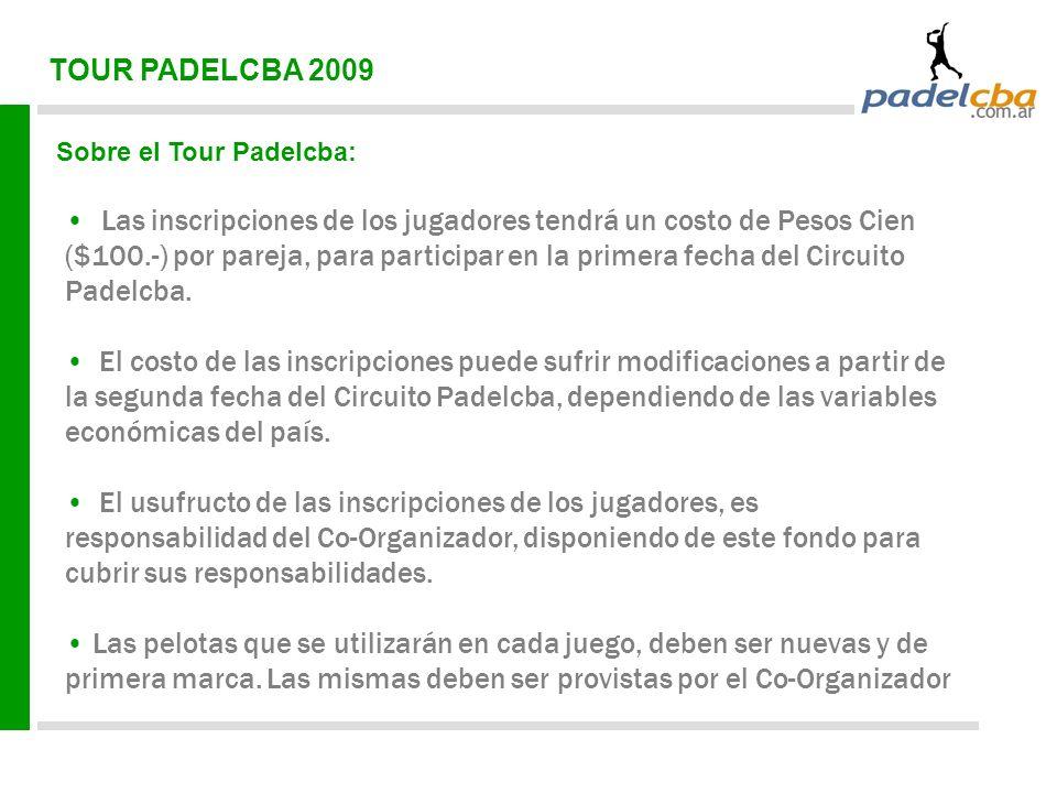TOUR PADELCBA 2009 Sobre el Tour Padelcba: Las inscripciones de los jugadores tendrá un costo de Pesos Cien ($100.-) por pareja, para participar en la primera fecha del Circuito Padelcba.