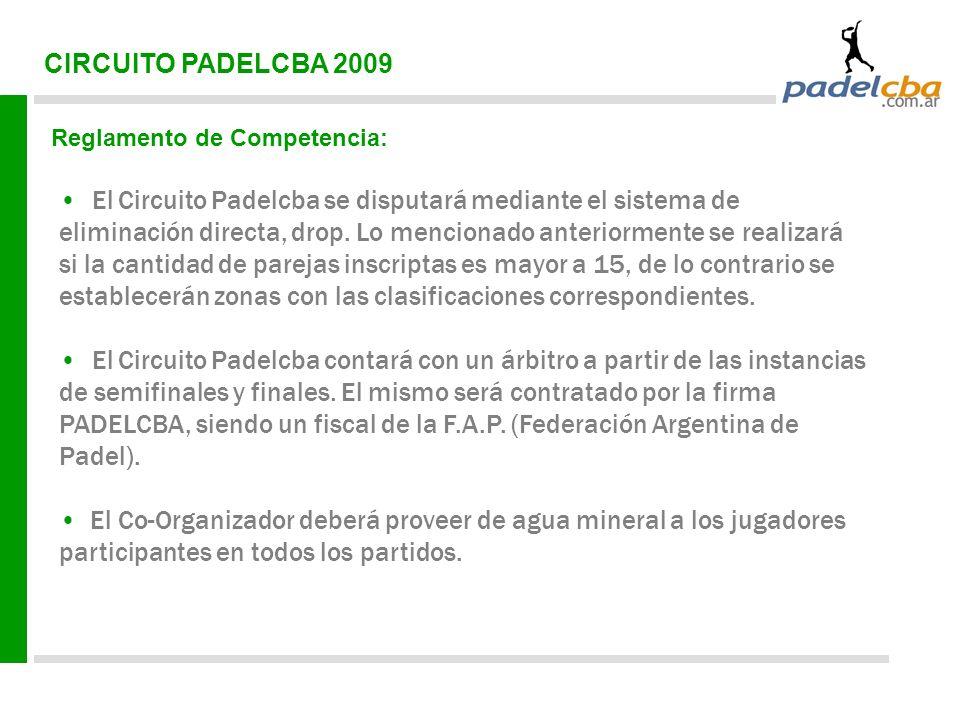 CIRCUITO PADELCBA 2009 Reglamento de Competencia: El Circuito Padelcba se disputará mediante el sistema de eliminación directa, drop. Lo mencionado an