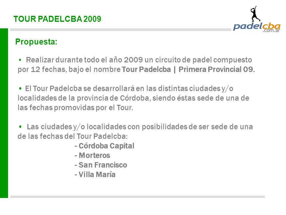 TOUR PADELCBA 2009 Propuesta: Realizar durante todo el año 2009 un circuito de padel compuesto por 12 fechas, bajo el nombre Tour Padelcba | Primera Provincial 09.