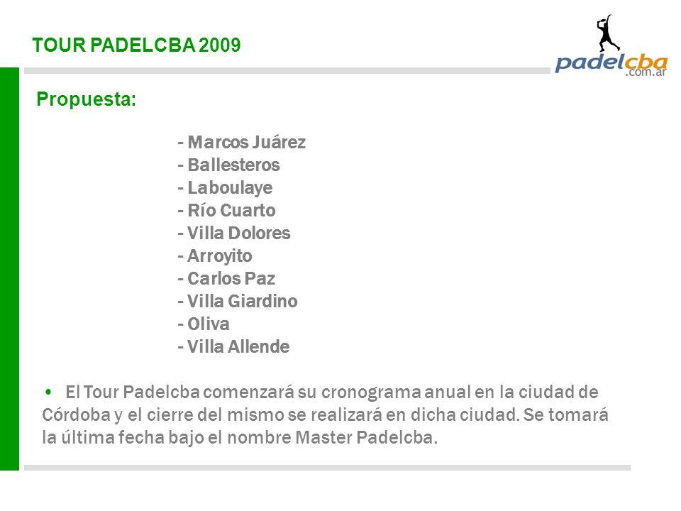 TOUR PADELCBA 2009 Propuesta: - Marcos Juárez - Ballesteros - Laboulaye - Río Cuarto - Villa Dolores - Arroyito - Carlos Paz - Villa Giardino - Oliva