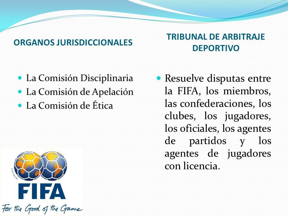 ORGANOS JURISDICCIONALES TRIBUNAL DE ARBITRAJE DEPORTIVO La Comisión Disciplinaria La Comisión de Apelación La Comisión de Ética Resuelve disputas entre la FIFA, los miembros, las confederaciones, los clubes, los jugadores, los oficiales, los agentes de partidos y los agentes de jugadores con licencia.